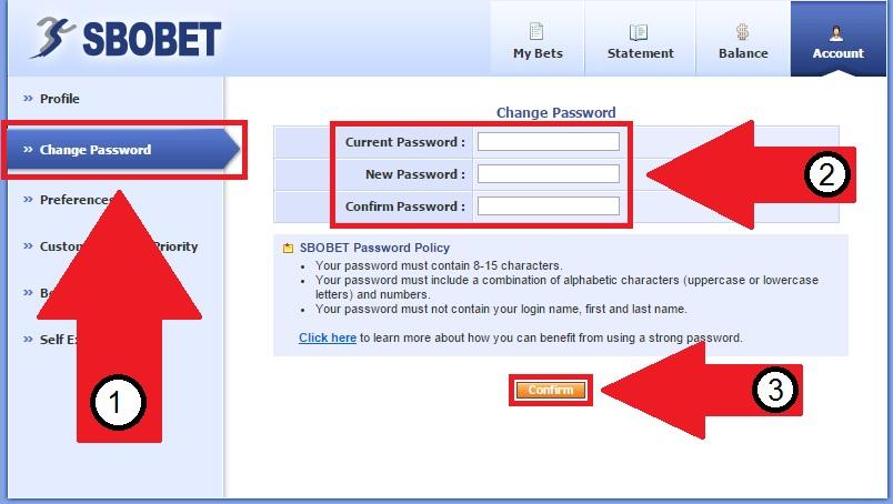 Panduan Cara Mengganti atau merubah Password Di Sbobet
